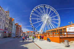 Ferris wheel in the old town of Gdansk, Poland Stock Photo