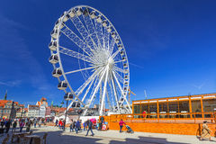 Ferris wheel in the old town of Gdansk, Poland Royalty Free Stock Images