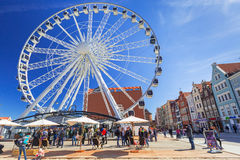 Ferris wheel in the old town of Gdansk Stock Images