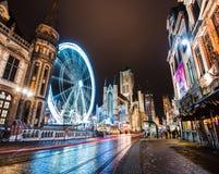 Ferris Wheel på Ghent vinterfestival Arkivbild