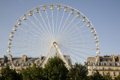 Ferris Wheel, Paris, France. White Ferris Wheel on Blue Sky Background to be used as a European Travel Image Royalty Free Stock Photos