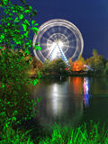 Ferris wheel in park landscape at night Royalty Free Stock Photos