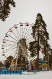 Ferris wheel in the park in winter Stock Photo