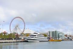 Ferris Wheel, pilastro della marina, Chicago, Illinois, U.S.A. Immagini Stock Libere da Diritti