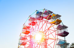 Ferris wheel Player of the fun kids with blue sky. Old and vintage Ferris wheel stock photography