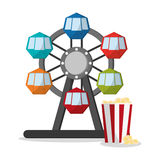 Ferris wheel and pop corn of carnival design. Ferris Wheel and pop corn icon. Carnival festival fair circus and celebration theme. Colorful design. Vector Stock Photos