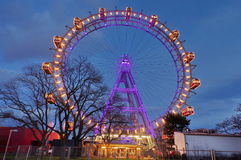 Ferris wheel in Prater, at night - landmark attraction in Vienna, Austria. Ferris wheel in amusement park Prater, at night - landmark attraction in Vienna stock image