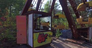 A Ferris wheel in Pripyat, near Chernobyl (Aerial, 4K)