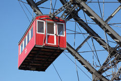 Ferris wheel with red cabine Stock Images