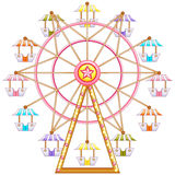 A ferris wheel ride. Illustration of a ferris wheel ride on a white background Royalty Free Stock Image