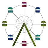 Ferris wheel ride. On a white background, Vector illustration Royalty Free Stock Photo