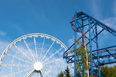 Ferris wheel and roller-coaster Royalty Free Stock Image