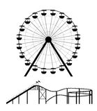 Ferris wheel and roller coaster silhouette. Vector illustration Stock Photography