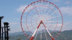Ferris wheel rotates against the backdrop of palm trees and green hills. Close-up. Batumi, Georgia stock video footage