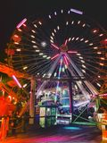 Ferris Wheel at Santa Monica Pier fun park Royalty Free Stock Photo