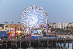 Ferris wheel at Santa Monica Pier at night Royalty Free Stock Photography