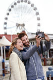 Ferris wheel selfie Royalty Free Stock Image