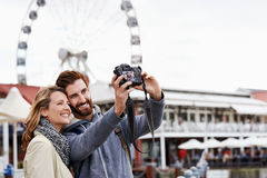Ferris wheel selfie Stock Photo