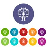Ferris wheel set icons. In different colors isolated on white background Stock Images
