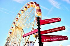 Ferris wheel and sign Sydney Royalty Free Stock Photos
