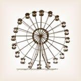Ferris wheel sketch style vector illustration. Old hand drawn engraving imitation. Ferris wheel Stock Photography