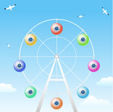 Ferris wheel on sky background. Ferris wheel with cabins in the form of colorful balloons with portholes. The concept of vector graphics Royalty Free Stock Photography