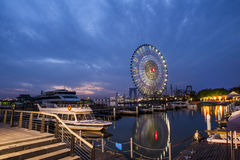 The Ferris wheel at Suzhou,China. The Ferris wheel beside Jinji Lake at Suzhou,China royalty free stock image
