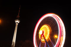 Ferris wheel and television tower in berlin Stock Photos