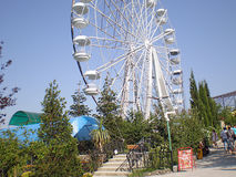 The Ferris wheel on the territory of Yalta Zoo `Tale`. Yalta, Crimea, Ukraine - August 7, 2011: The Ferris wheel. The photo was taken on a tour of the Yalta zoo stock photos