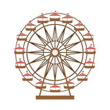 Ferris wheel in thematic park icon Stock Photography