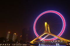 Ferris wheel of tianjin. Tianjin Tianjin eye, namely the Yongle bridge Ferris wheel, is the only thing in the world to build the ferris wheel on the bridge Royalty Free Stock Photos