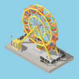 Ferris wheel and ticket office with shadows in isometric view. Stock Images