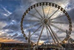 Ferris Wheel Underneath Cloudy Day Stock Photo