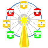 Ferris wheel vector. A colorful ferris wheel for amusement vector Royalty Free Stock Photography