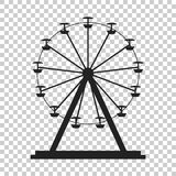 Ferris wheel vector icon. Carousel in park icon. Amusement ride. Illustration Royalty Free Stock Photo