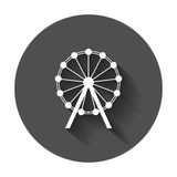 Ferris wheel vector icon. Carousel in park icon. Amusement ride. Illustration with long shadow Stock Image