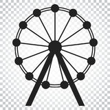 Ferris wheel vector icon. Carousel in park icon. Amusement ride. Illustration. Simple business concept pictogram on isolated background Royalty Free Stock Photos