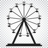 Ferris wheel vector icon. Carousel in park icon. Amusement ride. Illustration. Simple business concept pictogram on isolated background Stock Image