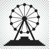 Ferris wheel vector icon. Carousel in park icon. Amusement ride. Illustration. Simple business concept pictogram on isolated background Royalty Free Stock Photo