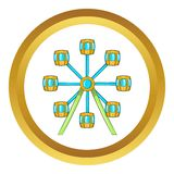 Ferris wheel vector icon. In golden circle, cartoon style isolated on white background Royalty Free Stock Photos
