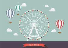 Ferris wheel vector illustration. Flat style design Stock Images