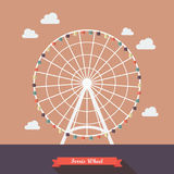 Ferris wheel vector illustration. Flat style design Royalty Free Stock Photography