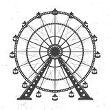 Ferris wheel vector monochrome illustration. Isolated on white background with texture Stock Photography