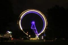 Ferris wheel in Vienna, Austria. Nightshot of the Riesenrad, a ferris wheel in the amusement park Prater in Vienna, Austria Royalty Free Stock Images