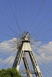 Ferris wheel in Vienna, Austria. Steel spokes of the Riesenrad, a giant ferris wheel in the amusement park Prater in Vienna, Austria Stock Photo
