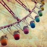 Ferris Wheel. On vintage retro background Royalty Free Stock Image