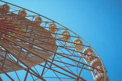 Ferris wheel vintage style. Ferris wheel and blue sky vintage style Stock Photos