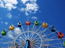Ferris wheel without visitors. Ferris wheel in the spring amusement park awaits visitors stock photography