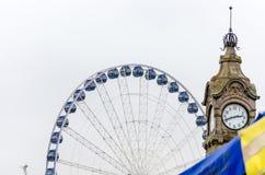 Ferris Wheel, water gauge, Dusseldorf. View of the Ferris wheel and the water gauge in Dusseldorf. Receiving at Christmas time Stock Image