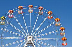 Ferris wheels and blue sky in the background. Ferris wheels in Aberdeen, Scotland Stock Image